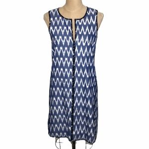 J.Crew zig zag ikat print sleeveless shift dress